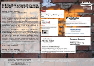 taT//sache: Gesprächsrunde Flucht und Vertreibung @ Foyer der taT-Studiobühne   Gießen   Hessen   Deutschland