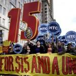 … für einen Mindestlohn von 15 Dollar pro Stunde und für das Recht auf gewerkschaftliche Organisierung, hier in der US-Metropole an der Ostküste