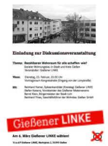 Diskussion: Preiswerter Wohnraum für alle - wie? @ Vortragsraum Kongresshalle | Gießen | Hessen | Deutschland