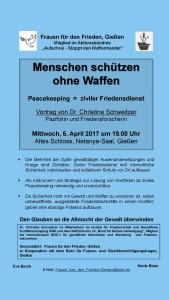 Menschen schützen ohne Waffen @ Netany-Saal | Gießen | Hessen | Deutschland