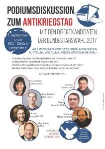 Antikriegstag - Diskussion mit den Kandidaten zur Bundestagswahl @ ESG | Gießen | Hessen | Deutschland