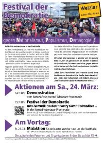 Festival der Demokratie - gegen Nationalismus, Populismus, Demagogie! @ Bahnhof | Wetzlar | Hessen | Deutschland