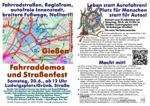 Verkehrswendetag - Fahrraddemo & Straßenfest @ Ludwigsplatz / Grünberger Straße